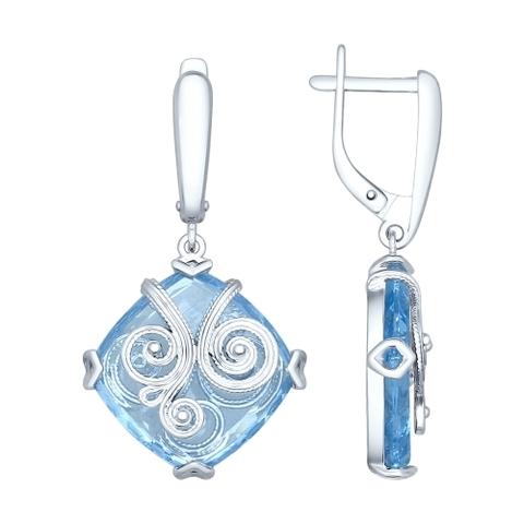 92021383- Серьги из серебра с квадратными голубыми ситалами и сканью