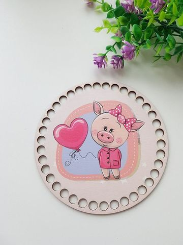 Круг диаметр 15 см, рисунок Свинка с шариком