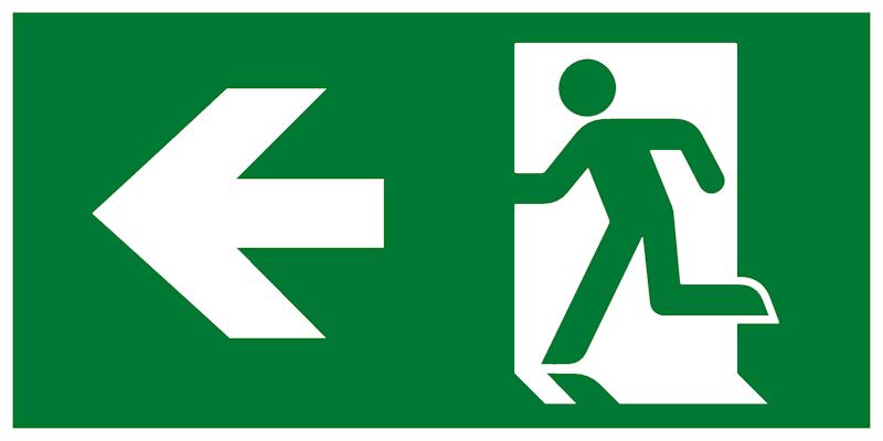 Современный комбинированный эвакуационный знак – Направление к эвакуационному выходу налево