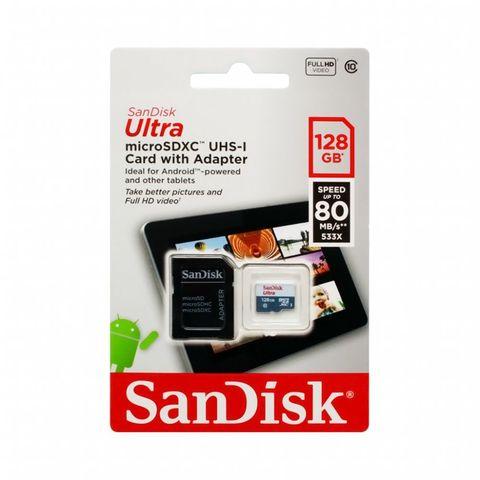 Карта памяти SANDISC MicroSDXC UHS-I 128GB Class 10  до 80MB/s + SD adapter