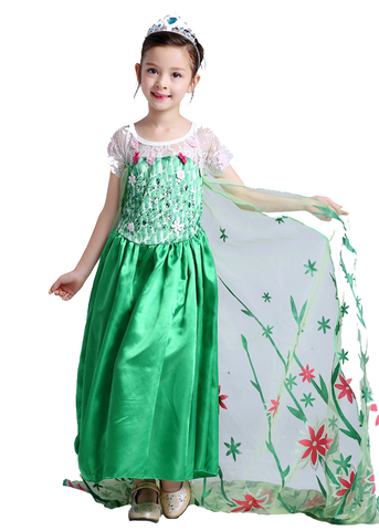 Холодное сердце платье Эльзы зеленое со шлейфом