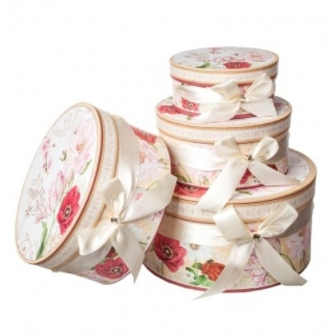 Набор коробок круглых Жардин 4шт, D23хH10см, бежевый/розовый