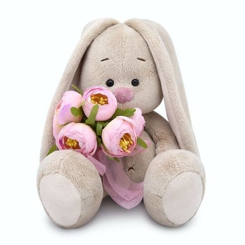 Зайка Ми с букетом роз (18 см сидя) + Кружка Зайка Ми с букетом