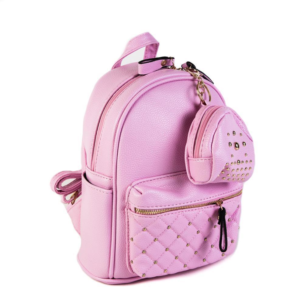 Женский средний рюкзак 20х26х13 см с брелком-кошельком розовый 2968-7