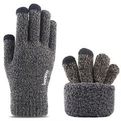 Вязаные мужские перчатки с тачскрином (Перчатки для сенсорных экранов) темно-серый