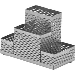 Подставка для канцелярских принадлежностей Attache Башня (4 секции, металлическая сетка, 160х110х80 мм, серебро)