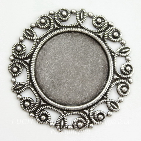 """Сеттинг - основа """"Узор"""" для камеи или кабошона 18 мм (оксид серебра) ()"""