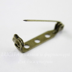 Основа для броши с замочком 27х5 мм (цвет - античная бронза), 10 штук