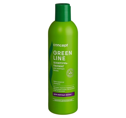 Шампунь-пилинг для жирных волос Concept, 300 мл.