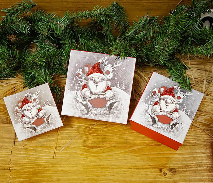 BOX260-2 Подарочная коробка «Дед Мороз на оленях» (11*11*8 см) фото 09