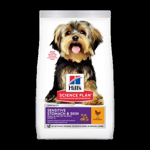Hill's Science Plan Sensitive Stomach & Skin Small & Mini Сухой корм для взрослых собак мелких пород с чувствительной кожей и пищеварением с курицей