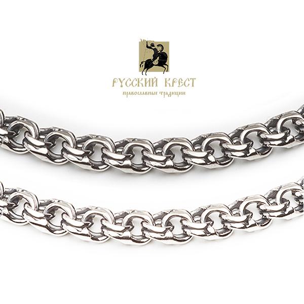 цепь плетения бисмарк серебряная