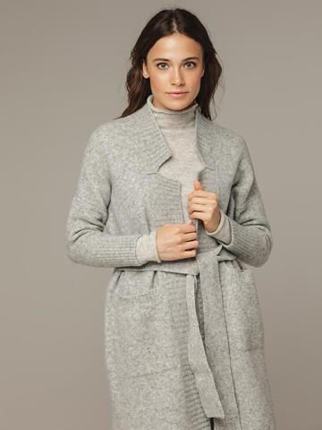 Женский серый кардиган на поясе с карманами - фото 2