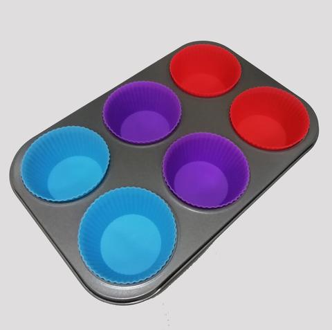 Форма для выпечки + силиконовые формы, 6 ячеек, 32х21см, ячейка 9х6х3см
