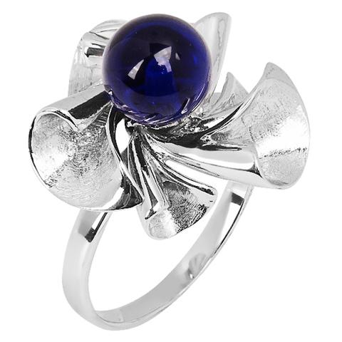 Кольцо из серебра с корунд сапфиром Арт.1402кс
