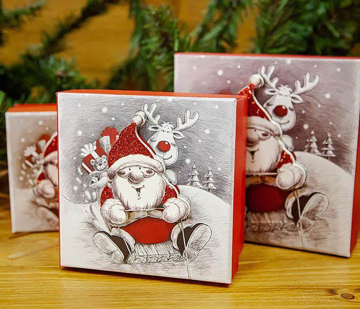 BOX260-2 Подарочная коробка «Дед Мороз на оленях» (11*11*8 см)