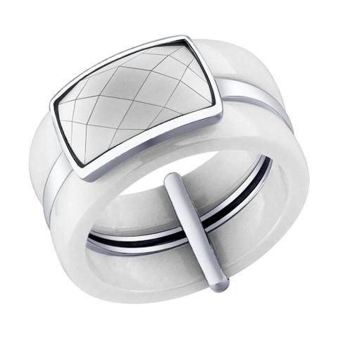 94011598- Кольцо из белой керамики и серебра