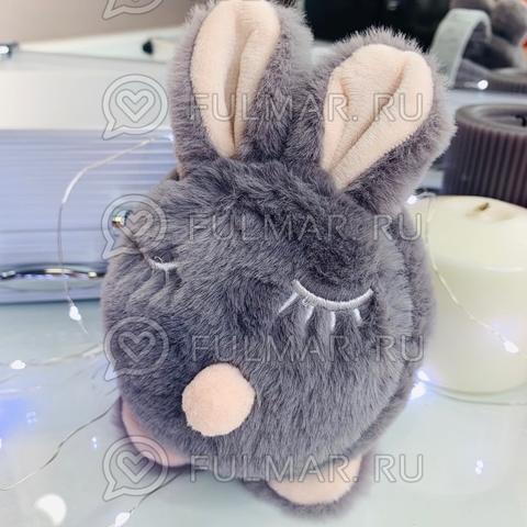 Ободок на уши складной Плюшевый Спящий Зайка (цвет: Серый)