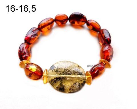 браслет из янтаря вишнёвого цвета