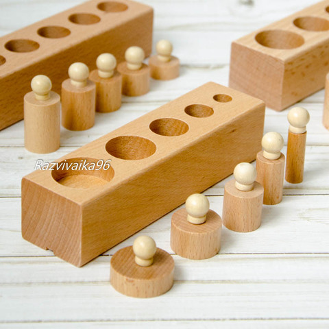Цилиндры Монтессори деревянные (гирьки, бочонки)