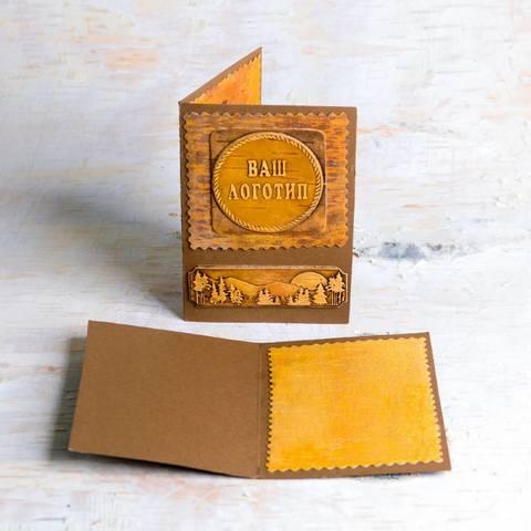 Открытка из картона и бересты с вашим логотипом на фоне бересты