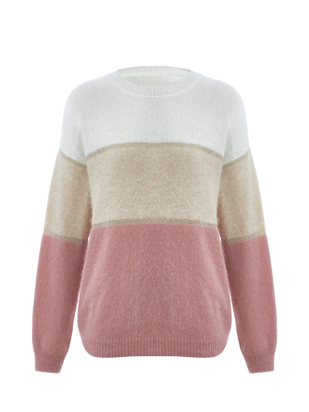 Женский джемпер с полосами бежево-розового цвета из ангоры - фото 1