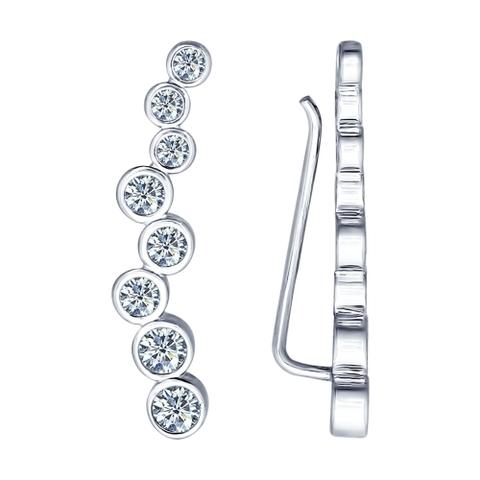 94021652 - Серьги-зажимы из серебра с фианитами