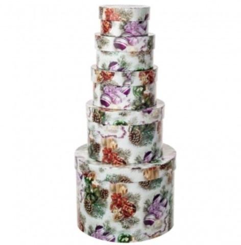 Набор коробок подарочных круглых Новогодние Шары из 5шт, размер: D19xH13 см