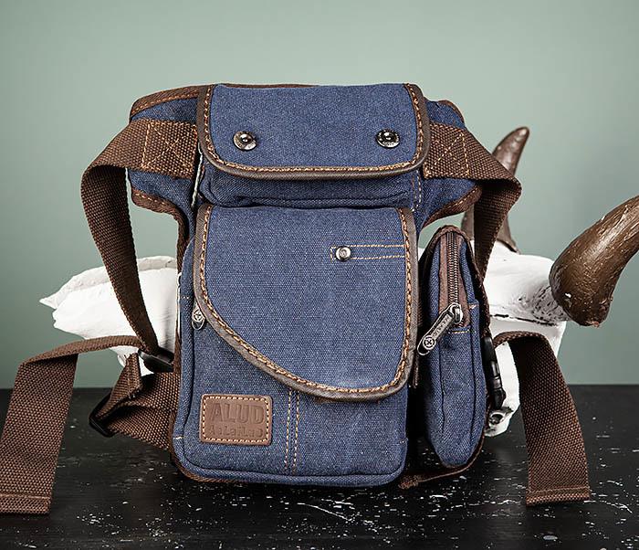 BAG507-3 Синяя набедренная сумка из плотного текстиля