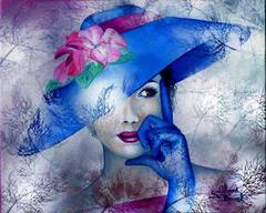 Картина раскраска по номерам 40x50 женщина в синей шляпе