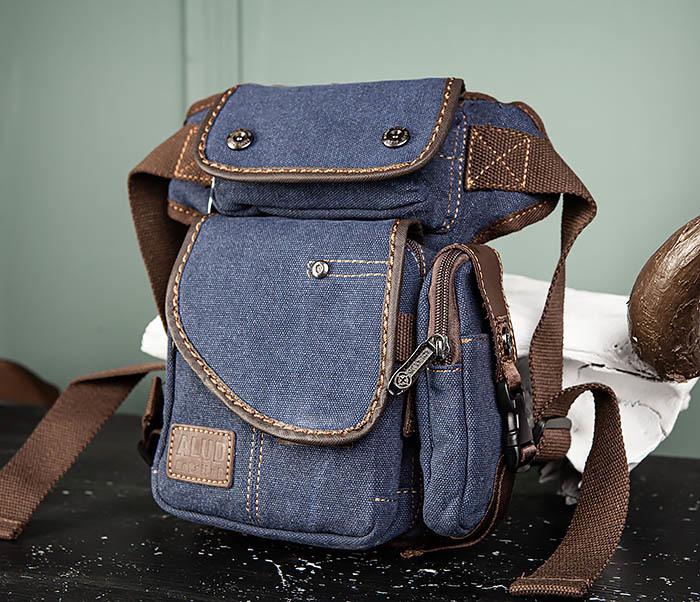 BAG507-3 Синяя набедренная сумка из плотного текстиля фото 02
