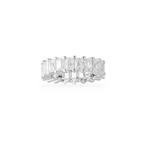 11379- Кольцо -дорожка из серебра с багетными цирконами (ширина 6 мм)