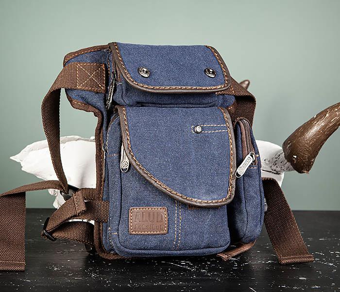 BAG507-3 Синяя набедренная сумка из плотного текстиля фото 03