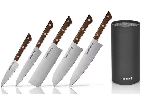 Набор из 5 ножей Samura Harakiri Wood и браш-подставки (упакованы отдельно)