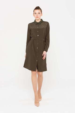 Фото платье – рубашка цвета хаки с кокеткой, украшенной геометрическими узорами - Платье З385-528 (1)