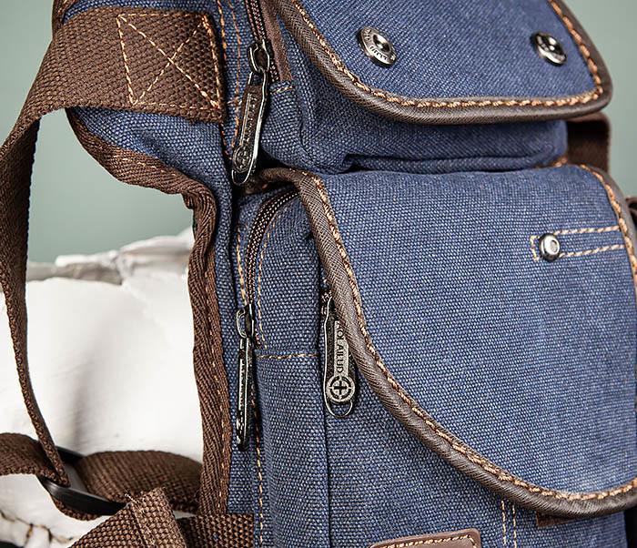 BAG507-3 Синяя набедренная сумка из плотного текстиля фото 04
