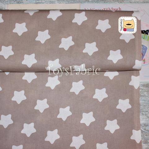 Ткань бязь 100% Д80 Округлые звезды на бежевом (75х50см)