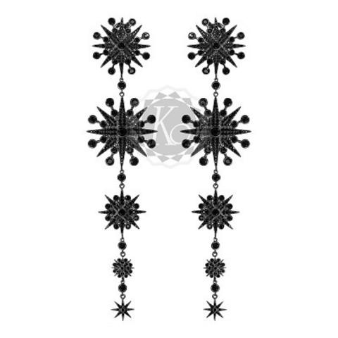 Серьги FIVE STARS из серебра с черным родием в стиле Ko Jewelry  4627