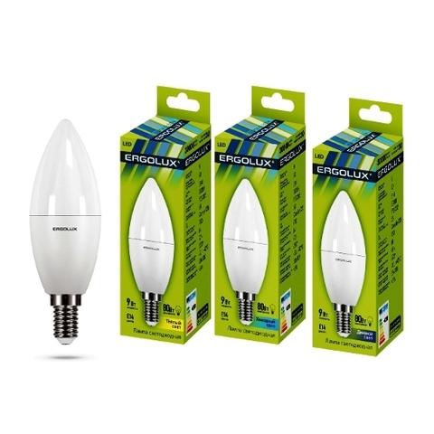 Лампа Ergolux LED-C35-9W-E14-4K свеча (холодный свет)
