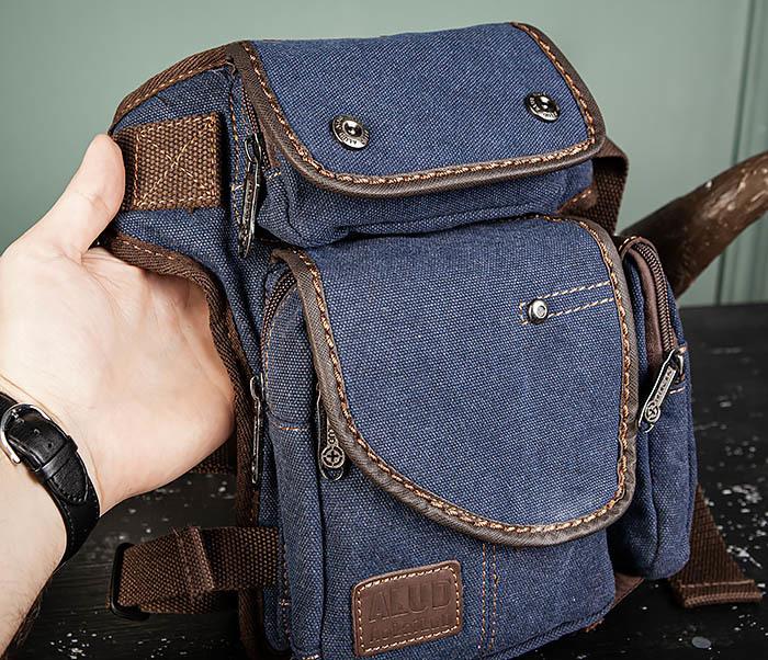 BAG507-3 Синяя набедренная сумка из плотного текстиля фото 05