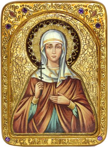 Подарочная живописная икона Святая Емилия Кесарийская (Каппадокийская) 29х21см на кипарисе