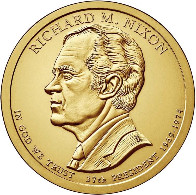 1 доллар 37-й президент США Ричард Никсон. 2016 год