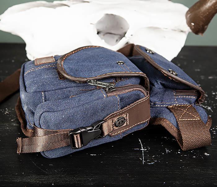 BAG507-3 Синяя набедренная сумка из плотного текстиля фото 06