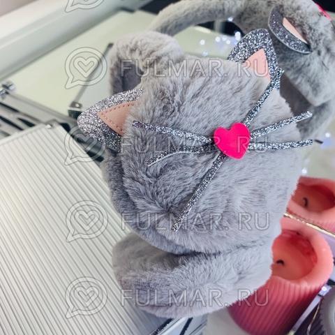 Ободок на уши Плюшевый с блёстками Киса-Любимка (цвет: Серый)