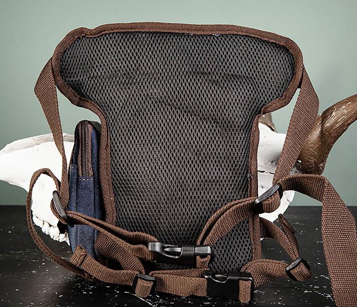 BAG507-3 Синяя набедренная сумка из плотного текстиля фото 07