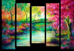 """Модульная картина """"Мост в красочном лесу"""""""