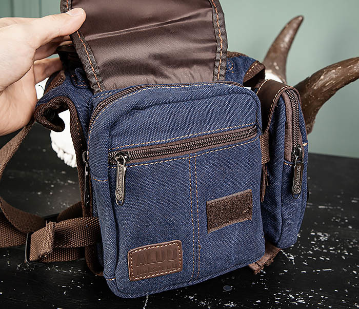 BAG507-3 Синяя набедренная сумка из плотного текстиля фото 09