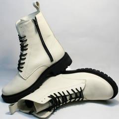 Модные ботинки кожаные женские зимние Ari Andano 740 Milk Black.