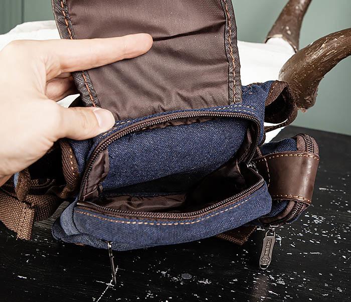 BAG507-3 Синяя набедренная сумка из плотного текстиля фото 10