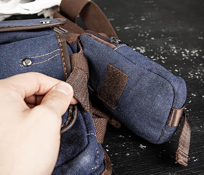 BAG507-3 Синяя набедренная сумка из плотного текстиля фото 11